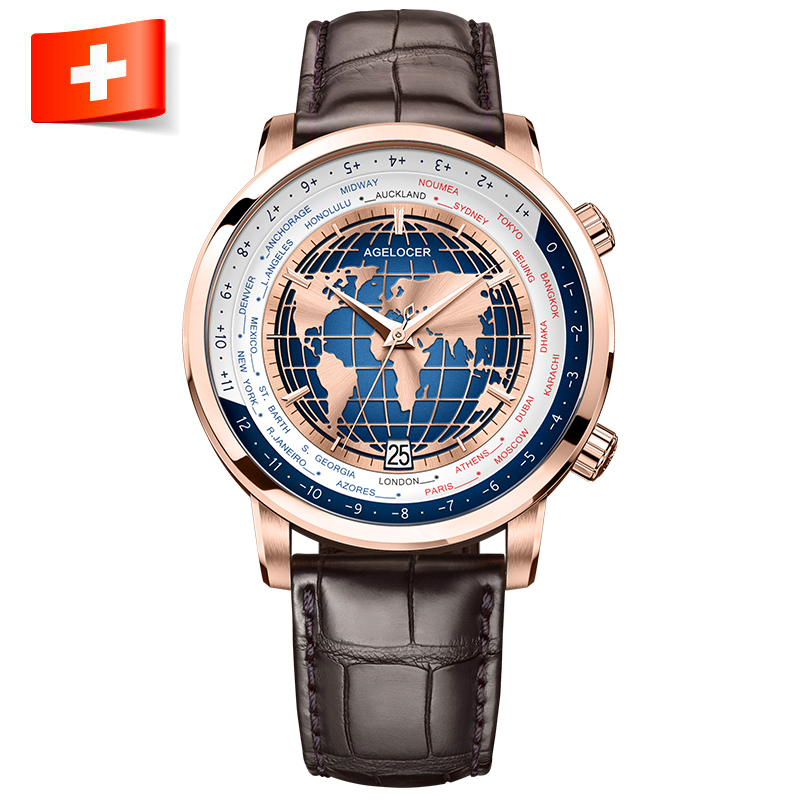 Agelocer Brand Designer Men's Watch With World Time Date Power Reserve Automatic Luxury Watch Waterproof Stainless Steel Watch