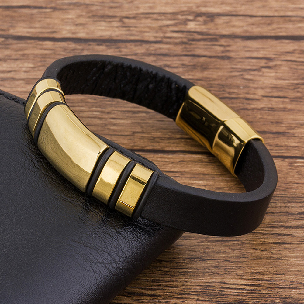 Trendy Punk Rock Fashion Genuine Leather Bracelet Men Black Gold Metal Stainless Steell Jewelry Magnetic Braided Vintage