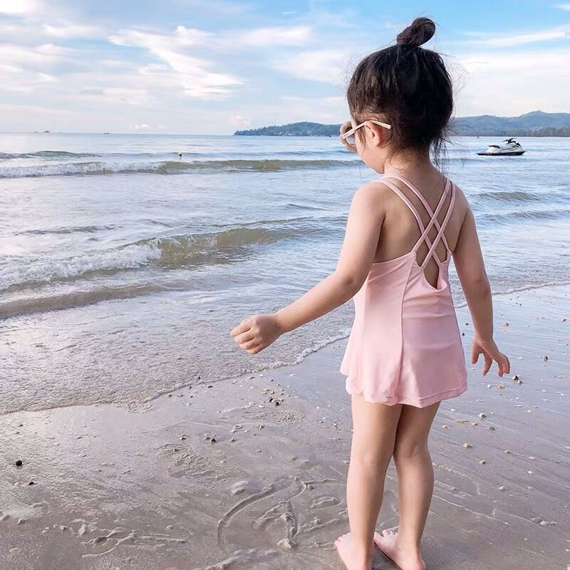 KID'S Swimwear Girls Baby Girls Small CHILDREN'S South Korea Tour Bathing Suit Holiday Quick-Dry Princess Strapped Dress-One-pie