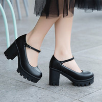 2019 Sprin Lare Size Vintae Chunky Womens Shoes Block Hih Heel Platform Buckle Mary Jane Pumps Black Heels Shoes