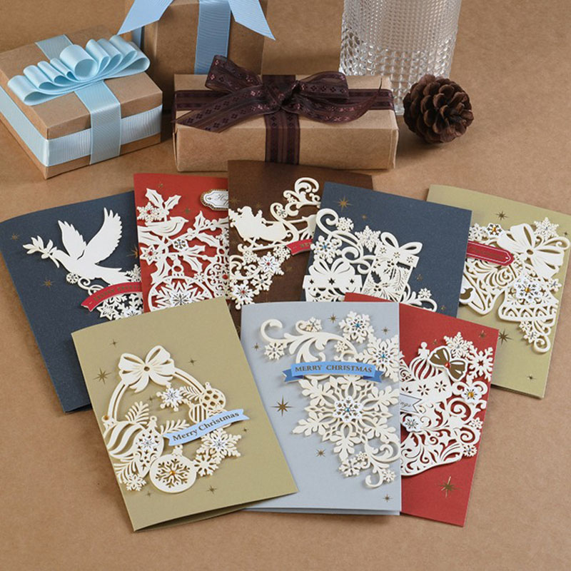 1 Set Hot Sale Carving Merry Christmas Greeting Cards Kids New Year Gift Cards Xmas Christmas Party Decorations Postcard