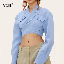 VGH Asymmetrical Slim Women's Blouses Lapel Collar Long Sleeve Casual Short Shirts Tops For Female Fashion Clothing 2020 Tide