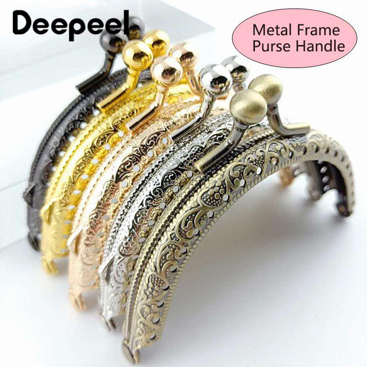 5/10pcs Deepeel 8.5cm Metal Frame Purse Handle Mouth Gold Embossed Bag Buckle Bag Luggage Accessories Purse Hardware Frame BS137