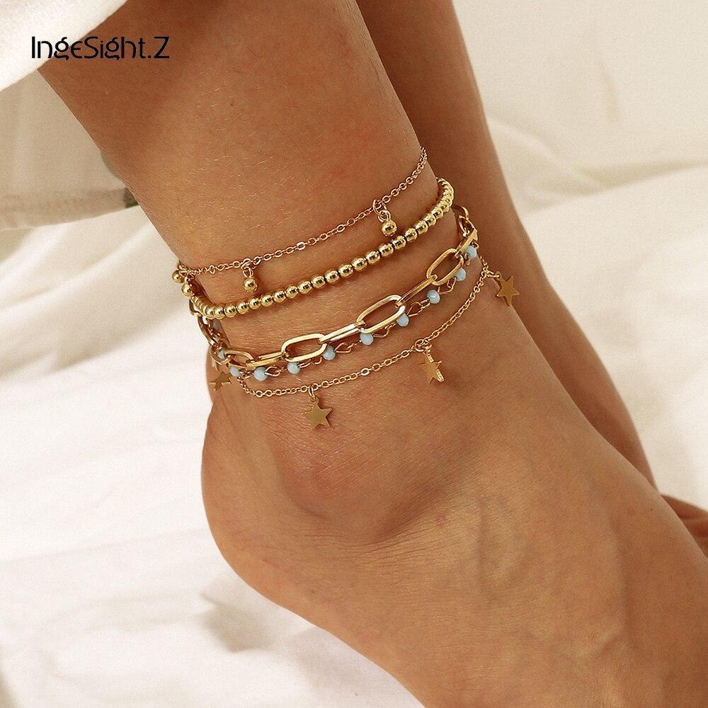 IngeSight.Z 5Pcs/Set Boho Summer Beach Star Pendant Anklet Bracelet Beaded Anklets On Foot Barefoot Sandals for Women Jewelry