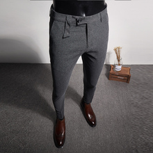 Autumn mens embroidery ankle length pants 28-36 Gray black pant
