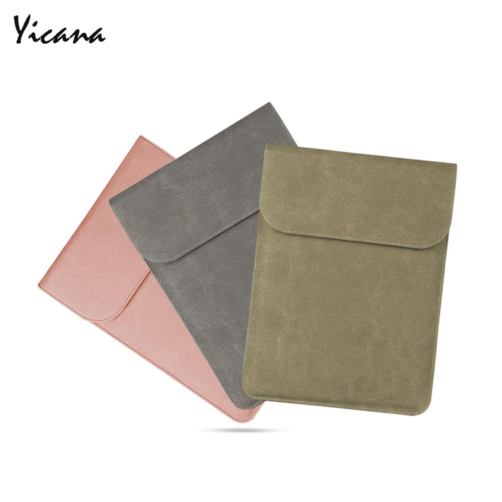 Yicana 11 12 13 14 15.6 16 PU Leather Laptop Sleeve For Macbook Air Retina Pro  Huawei Matebook Pro Surface UltrathinBook