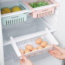 Kitchen Retractable Fridge Organizer Pull Out Drawer Refrigerator Clip On Under Shelf Storage Basket for Fridge Shelf