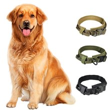 1 PC Adjustable Tactical Dog Collar Nylon Dog Collar Heavy Duty Metal Buckle With Control Handle Vest HuskyFor Dog Training(China)