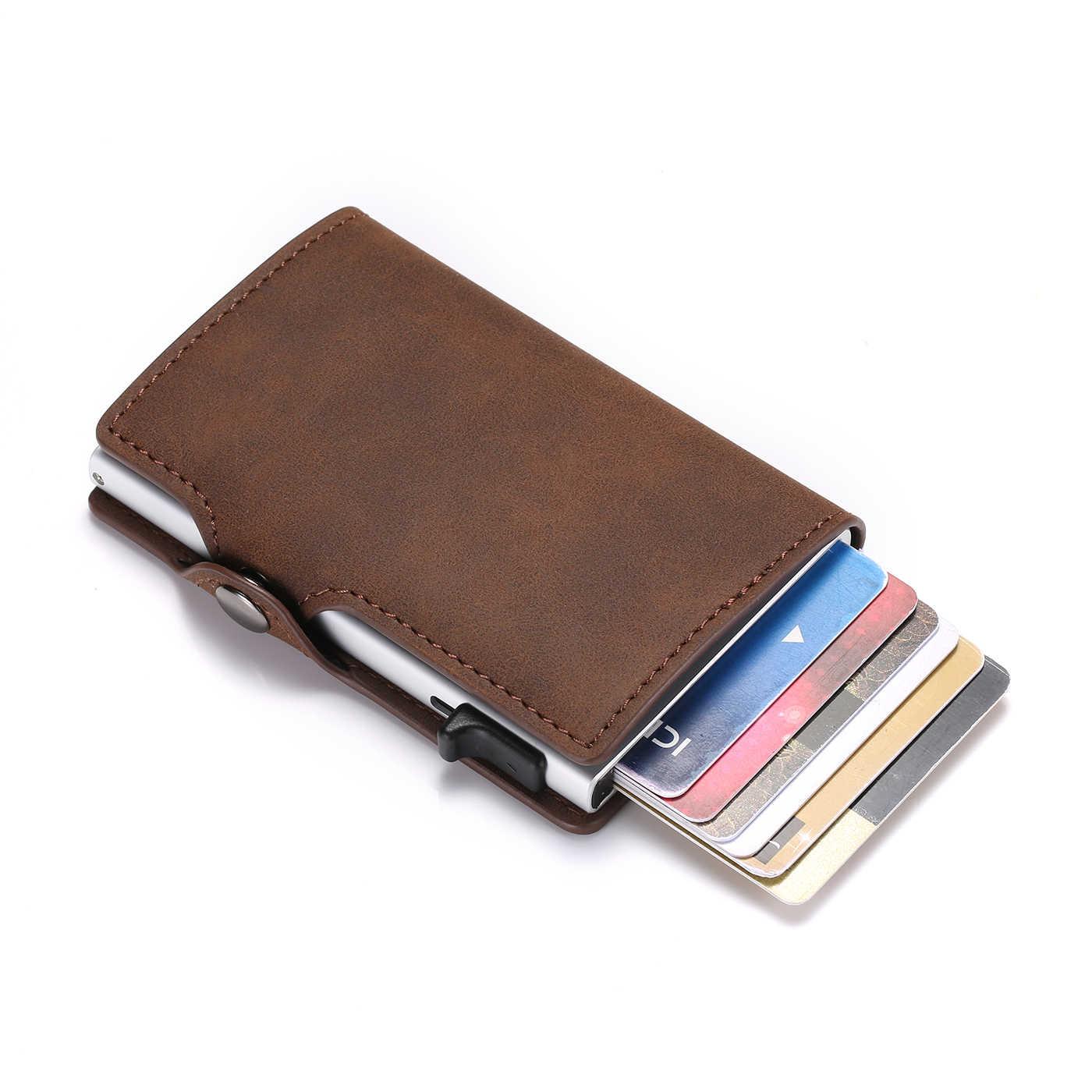 RFID Karte Halter Vintage Karte Brieftasche Männer Automatische Aluminium Karten Fall Mini Brieftasche Dünne Geldbörse Drop-versand