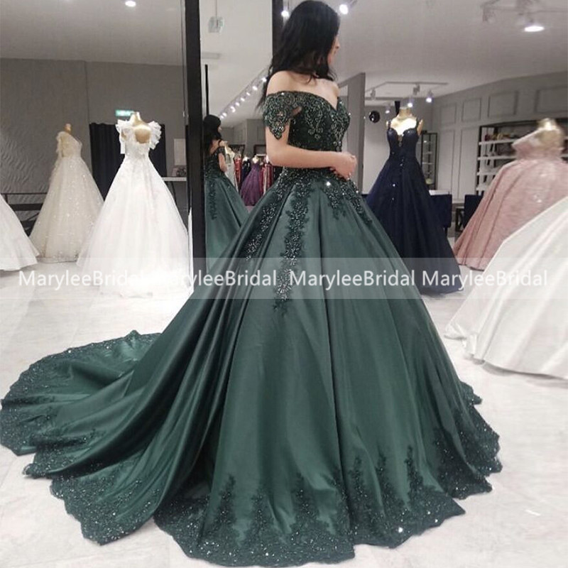 Gorgeous Lace Prom Dress With Beading Off The Shoulder Dark Green Satin Princess Balo Elbisesi Turkey Gelinlik Formal Party Gown
