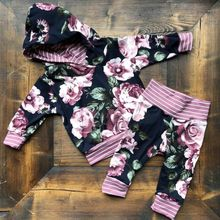 PUDCOCO Toddler Baby Boys Girls Flower Hooded Tops T-shirt P