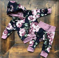 Pudcoco criança do bebê meninas flor com capuz manga longa tops e calças moletom leggings conjunto de roupa inverno suporte por atacado
