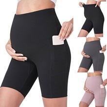 2021 Woman Pregnants Mini Yoga Fitness Sports Solid High Waist Slim Fashion Pregnant Maternity Pants Pregnancy Woman Clothes