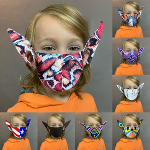 1PC Children Fashion Funny Halloween Colorful Pattern Printed Elf ear Mask Anti-dust Reusable Mask Mouth Cover mascarillas