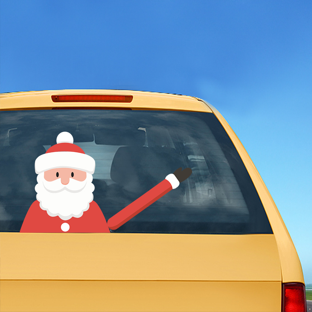 Car Stickers Christmas Decoration Santa Claus 3D PVC Waving Car Stickers Styling Window Wiper Decals Rear Windshield Decoration (10)