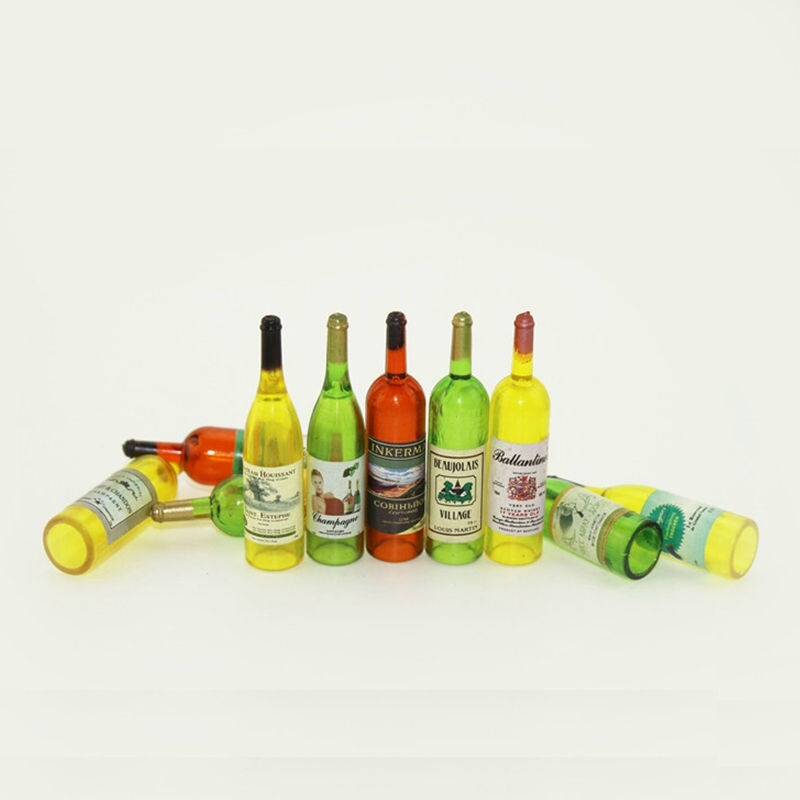 8pcs/set Wine Whisky Beer Bottles Dolls House Miniature Pub Bar Accessory 1:12 Scale ZXY9695