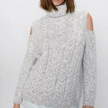 ZA women autumn winter tops knitted open shoulder turtleneck sweater pullover chic pull female oversize woman clothes(China)