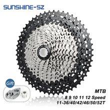 Sunshine VTT 8 9 10 11 12 vitesses Velocidade vélo Cassette vtt roue libre pignon 36T 40T 42T 46T 50T 52T pour SHIMANO