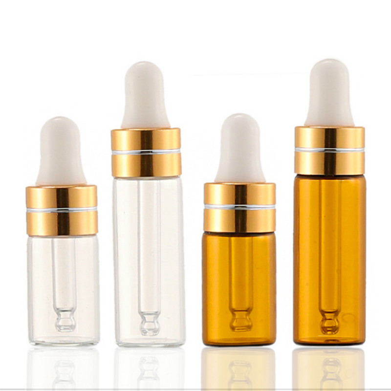 3ml 5ml Clear Brown Glass Plastic Tip Dropper Essential Oil Dispensing Bottle Mixing Bottle Dilution Empty Bottle