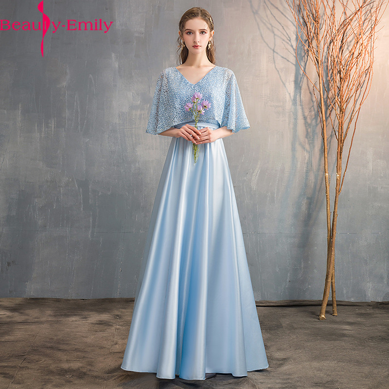 Beauty Emily New Arrival Sexy V Neck Lace Up Back   Evening     Dress   2019 Fashion Floor Length Sleeveless Party Gown   Evening   Gowns