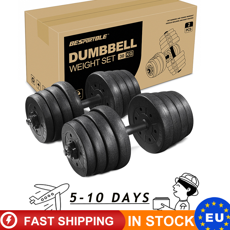 2pcs 30kg Dumbbell Weight Set Adjustable Solid Fitness Dumbbell Set Dumbbells Home Gym Exercise Muscle Training Drop Shipping