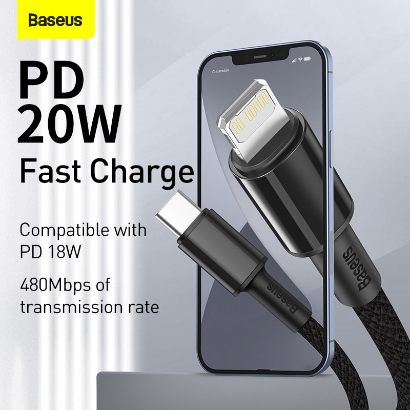 Baseus 20W PD USB Type C Cable for iPhone 13 12 Pro Xs Max Fast Charging Charger for MacBook iPad Pro Type-C USBC Data Wire Cord 2