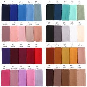 Image 5 - イスラム教徒 hijabs スカーフ女性無地バブルシフォンヒジャーブショール固体カラーロングショールとラップヘッドスカーフレディーススカーフファム