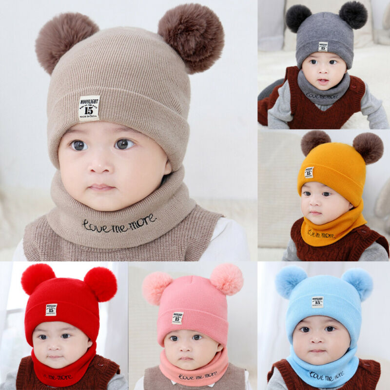 Baby Boys Girls Children Winter Cap Knitted Warm Pom Hat And Scarf Set Autumn Winter Kids Hat Sets 0-3 Years Old