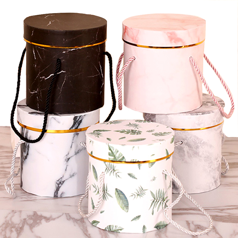 Hat Boxes Round Floral Boxes Flower Packaging Paper Bag Gift Storage Box Florist Bouquet Flower Packaging Box With Lid Lanyard image