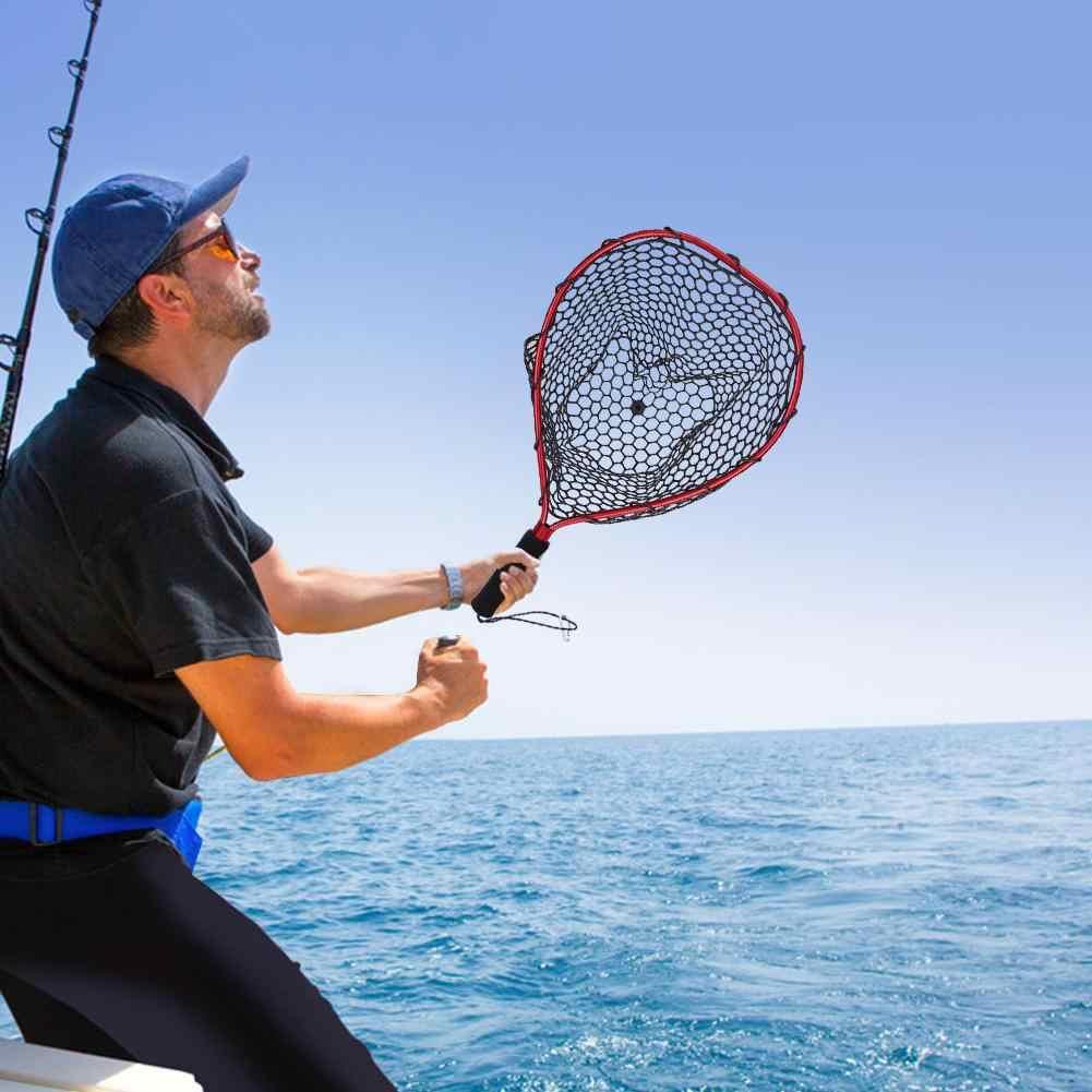 Polo de aleación de aluminio retráctil Red de goma telescópica aterrizaje plegable para Red de pesca con mosca Red con protección de Nylon peces
