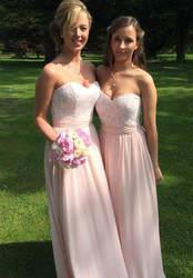 Новое поступление Румяна розовое платье подружки невесты кружева Западный сад страны Формальные пригласительные на свадьбу горничной
