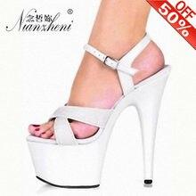 Женские модные блестящие сандалии на платформе 17 см модель