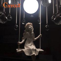 Modern art angel żyrandol led lampy nordycki kreatywny salon żyrandol led do sypialni E27 światło led połyskujące żyrandole w Żyrandole od Lampy i oświetlenie na