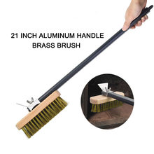 PizzAtHome Pizza Oven Copper Brush Bristle Brass Scraper Household Grill Cleaning Oven Brush with 21 inch Aluminium Handle