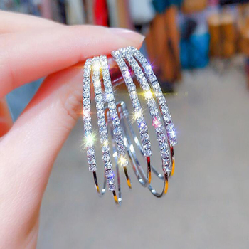 LATS Exaggerated Rhinestone Shiny Circle Hoop Earrings Large Round Earrings for Women 2020 Brincos Fashion Jewelry Accessories 3