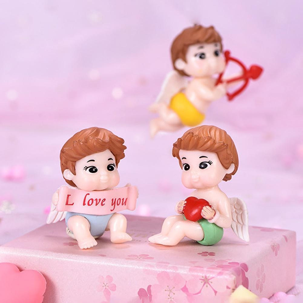 4Pcs Cute Cupid Couple Doll Action Figure Keychain Pendant Bonsai Plants Decor