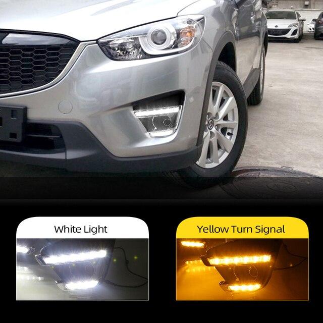 2 pçs turn signal estilo led carro drl luzes diurnas com buraco da lâmpada de nevoeiro para mazda cx 5 cx5 cx 5 2012 2013 2014 2015 2016