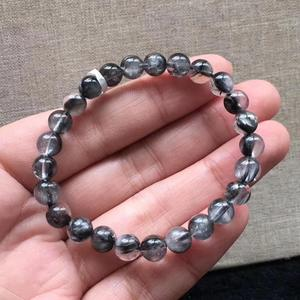 Image 1 - 7mm Natural Brookite Platinum Silver Rutilated Quartz Bracelet Crystal Gemstone Round Beads Woman Man Lucky Gift AAAAA
