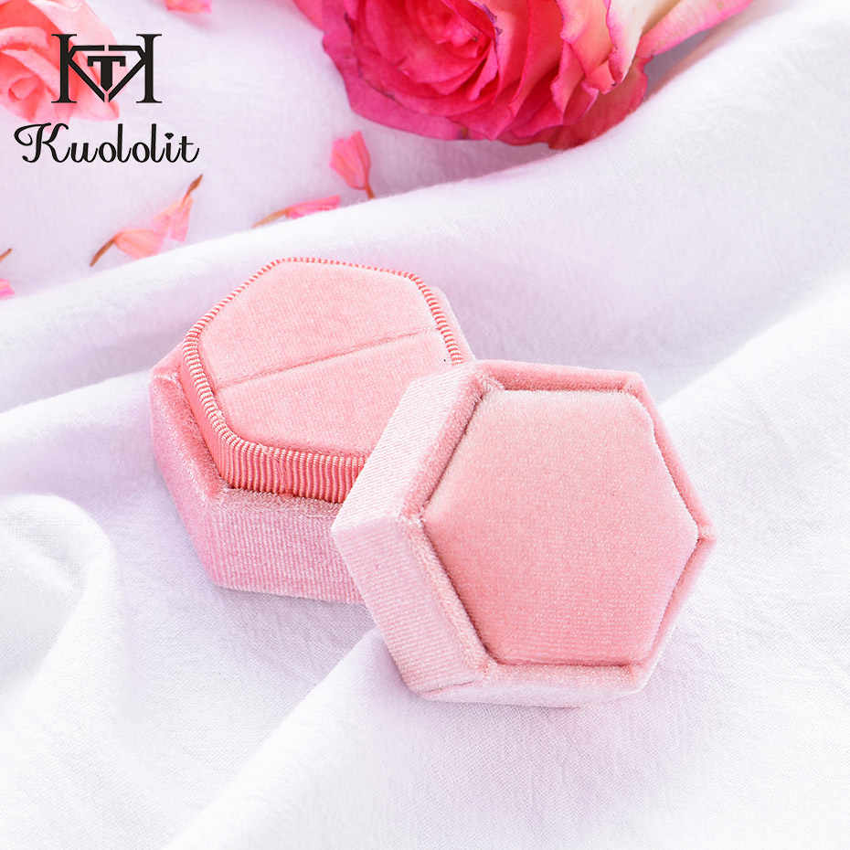 Kuololit Pink Velvet Hexagon Ring box for Women Handmade Ring Jewelry Boxes for Wedding Engagement Bridal Gift Packaging Display