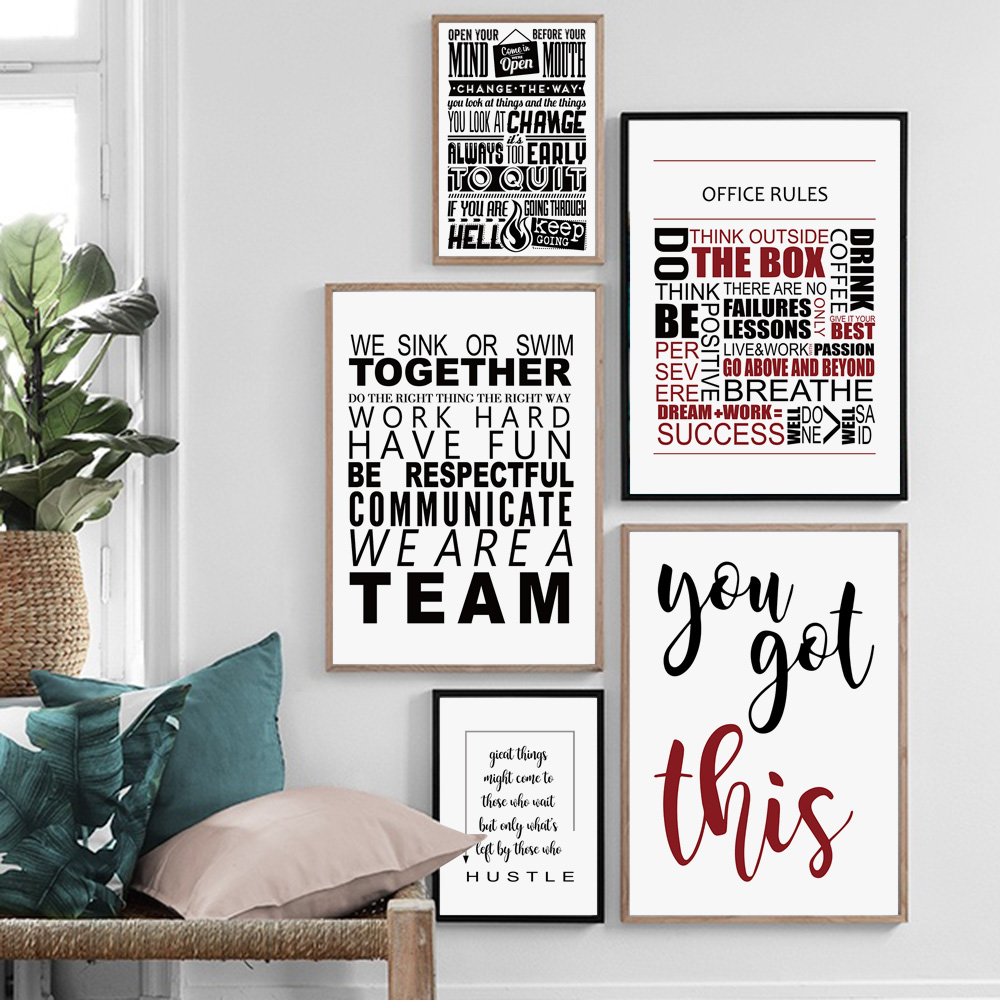Motivational Teamwork Office Quotes Nordic Posters And Prints Wall Art Canvas Painting Wall Pictures For Living Room Home Decor image