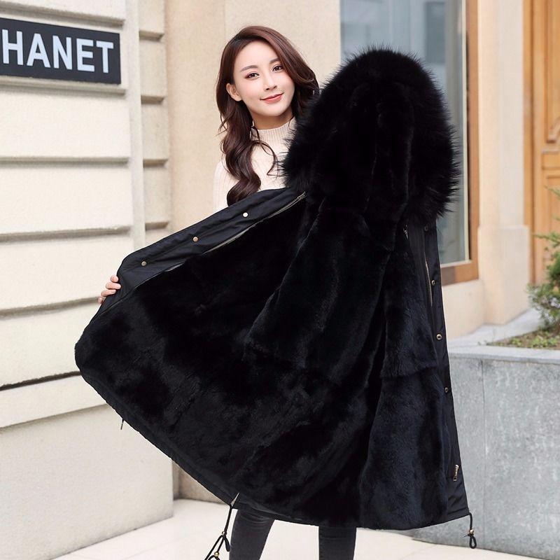 Large Real Fox Fur Collar 2019 Winter Jacket Women Long Outwear warm Female Down Coat Fur lining Parka Hooded Winter Coat Women