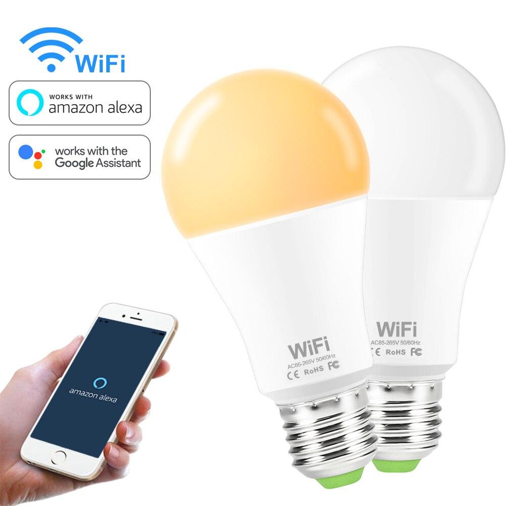 Smart WiFi Bulb Dimmable LED Light E27 B22 15W Smart Lamp Bulbs AC85-265V Voice WiFi Control Works With Amazon Alexa Google Home