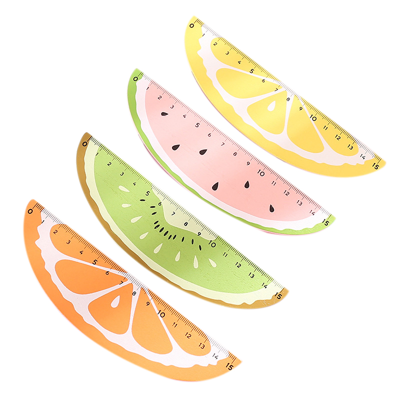 4 Pcs Wooden Fruit Ruler Cute 15Cm Measuring Straight Rulers Drawing Tool Promotional Stationery Gift School Supplies