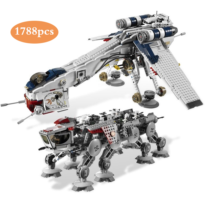 DHL 05053 1788Pcs Genuine Star Was Republic Dropship with AT-OT Walker Set Building Blocks Bricks Compatible Lepinblock <font><b>10195</b></font> image