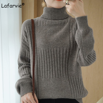 Lafarvie Knit Wool Turtleneck Sweater Women Lantern Sleeve Pullover Female Loose Oversize Winter Clothe Thick Warm Jumper 7Color thick warm women turtleneck 2020 winter women cashmere sweaters and pullovers knit long sleeve wool sweater female jumper