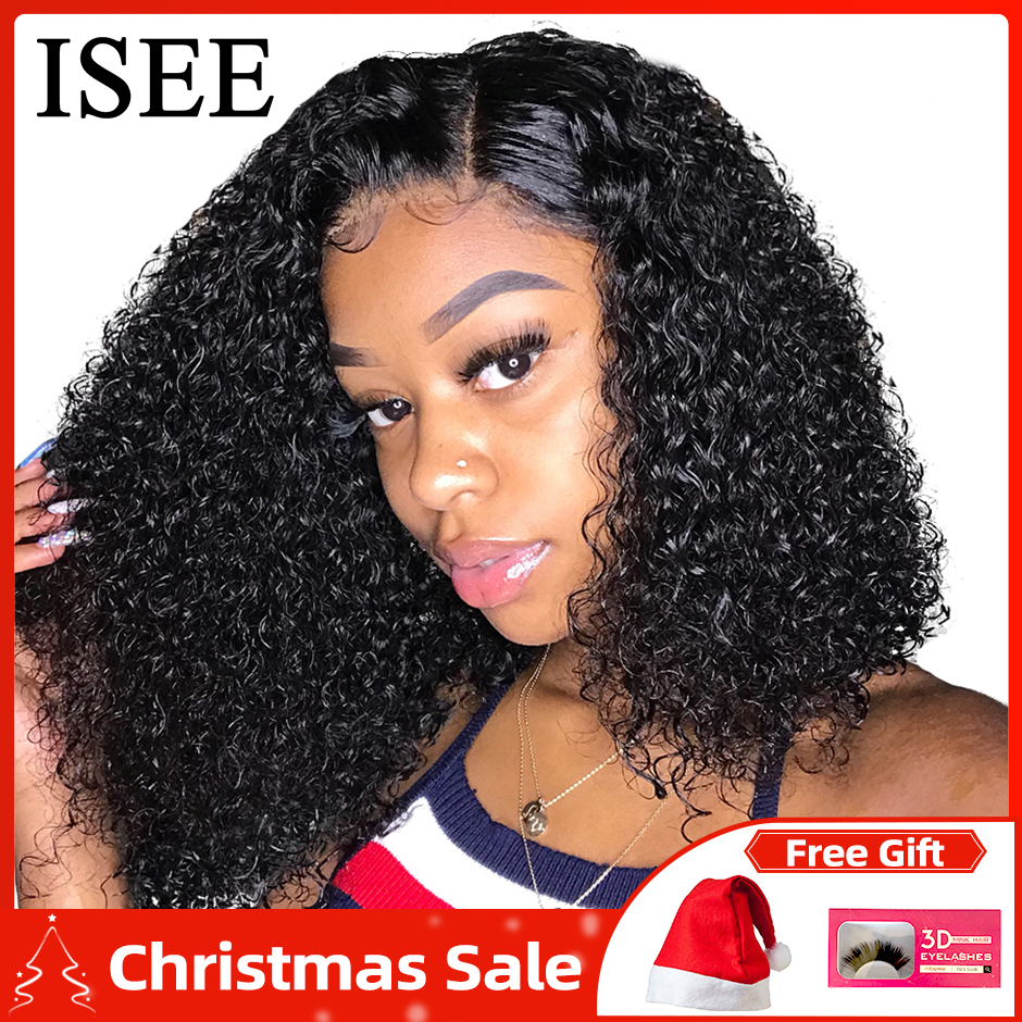 ISEE HAIR Curly Bob <font><b>Lace</b></font> Front <font><b>Wigs</b></font> For Women Kinky Curly <font><b>Lace</b></font> Front <font><b>Wig</b></font> <font><b>360</b></font> <font><b>Lace</b></font> <font><b>Frontal</b></font> <font><b>Wig</b></font> <font><b>Brazilian</b></font> Curly Human Hair <font><b>Wigs</b></font> image