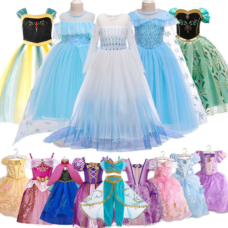 Snow Queen 2 Christmas Gift Baby Girls Dress Cinderella Cosplay Costume Party Dress Princess Dress Cinderella Costume