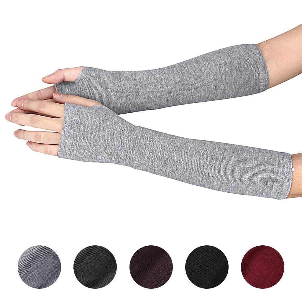 Осень-зима, перчатки для рук на запястье, женские и мужские вязаные варежки, длинные перчатки без пальцев, мягкие теплые рукавицы на рукавах ...