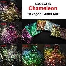 Brillo de camaleón en 5 colores, mezcla de brillo metálico, forma hexagonal, arte de uñas para decoraciones artesanales, maquillaje, pintura facial, accesorios DIY