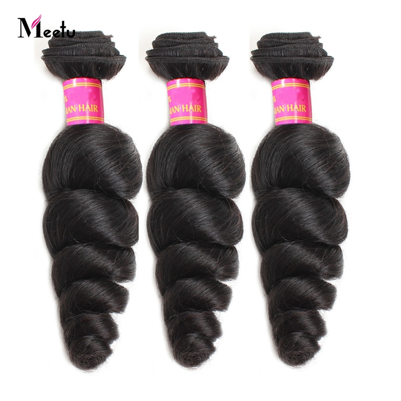 Meetu Malaysian Loose Wave Human Hair Bundles 1 Piece 100% Human Hair Extensions Non-Remy Hair Natural Color Can Be Dyed Hair